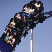 People enjoying rollercoaster ride